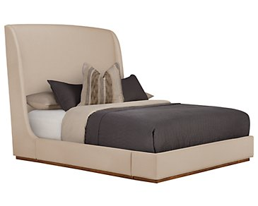 Triss Dark Taupe Upholstered Platform Bed