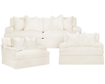 Delilah White Fabric Living Room