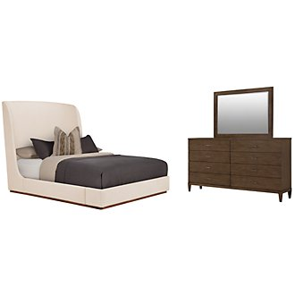 Triss Lt Beige Upholstered Platform Bedroom
