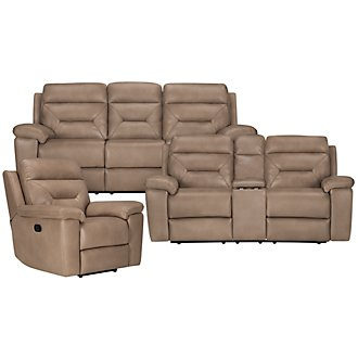 Phoenix Dk Beige Microfiber Manually Reclining Living Room