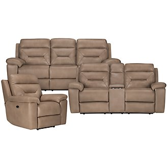 Phoenix Dk Beige Microfiber Power Reclining Living Room