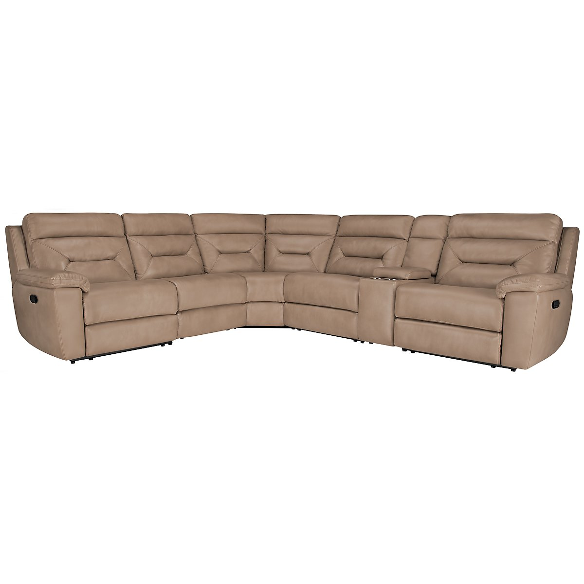 Phoenix Dk Beige Microfiber Small Two-Arm Manually Reclining Sectional