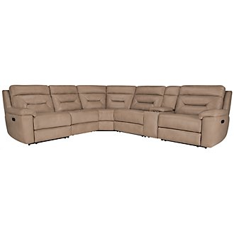 Phoenix Dark Beige Microfiber Small Two-Arm Manually Reclining Sectional