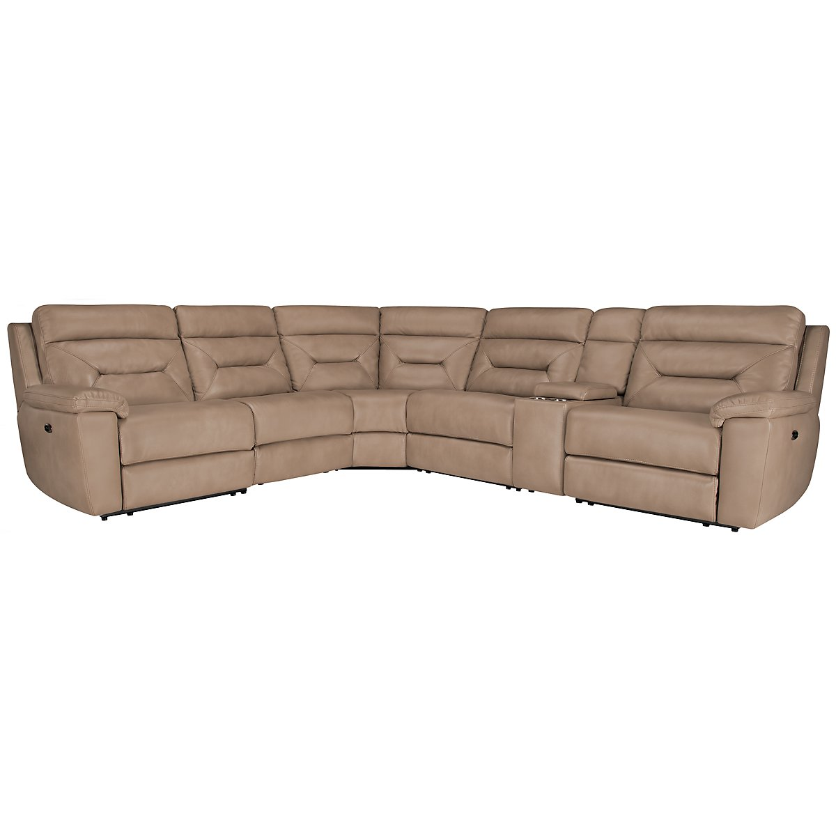 Phoenix Dk Beige Microfiber Small Two-Arm Power Reclining Sectional