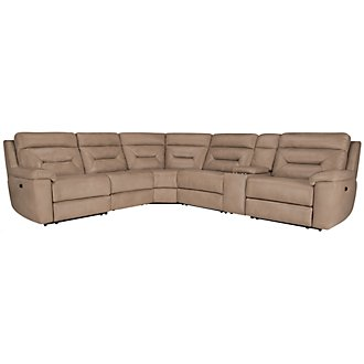Phoenix Dark Beige Microfiber Small Two-Arm Power Reclining Sectional