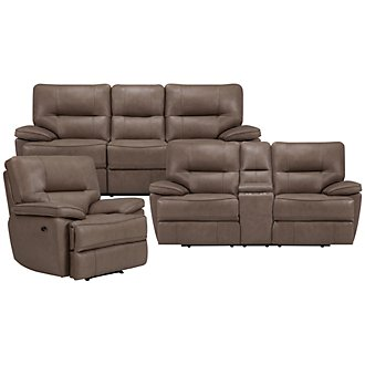 Clint Dk Taupe Leather & Vinyl Power Reclining Living Room