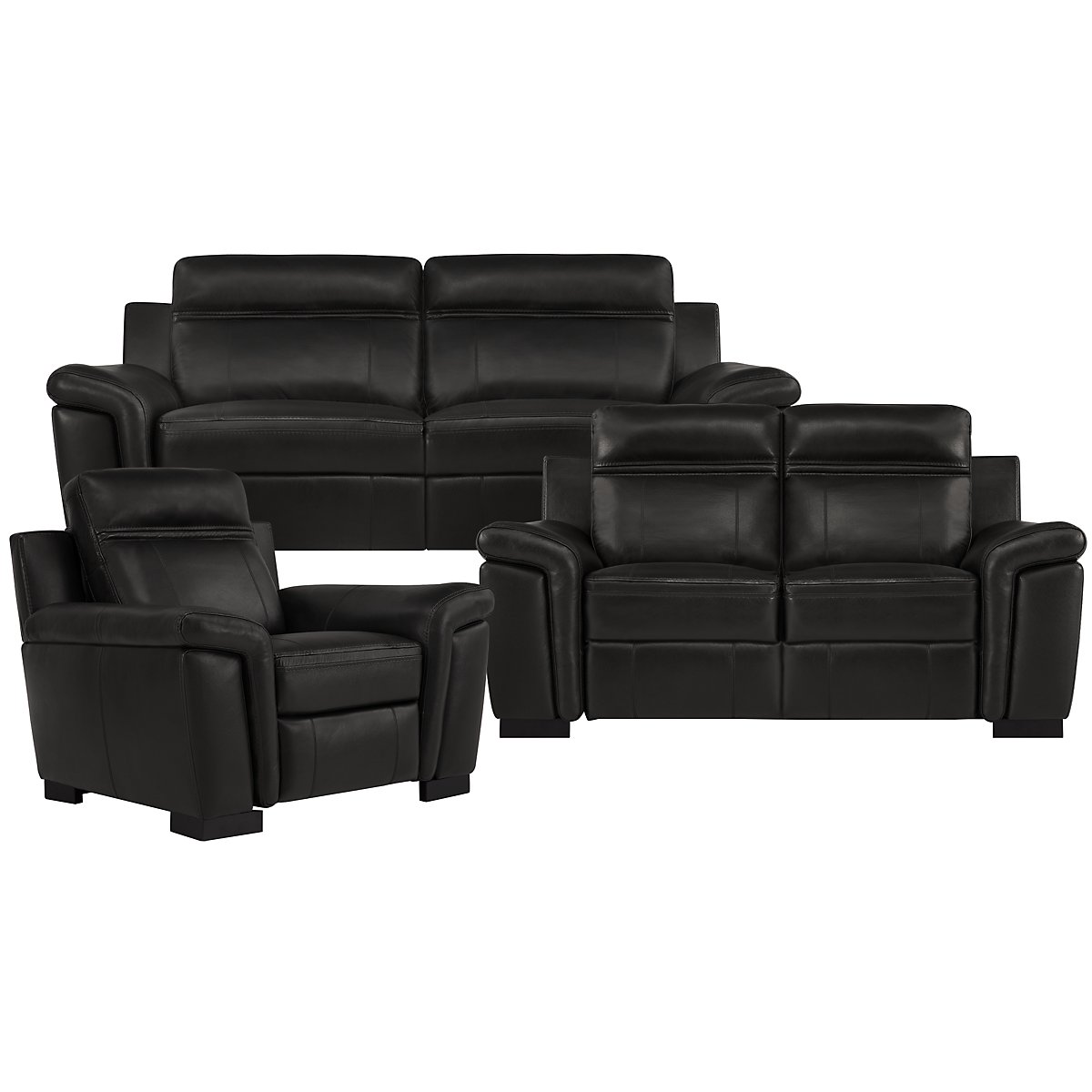 Albany Black Leather & Vinyl Manually Reclining Living Room