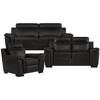 Albany Black Leather & Vinyl Power Reclining Living Room