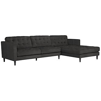 Shae Dk Gray Microfiber Right Chaise Sectional
