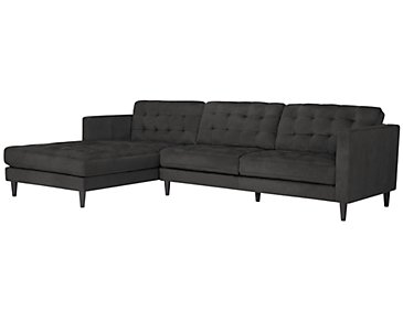 Shae Dark Gray Microfiber Left Chaise Sectional