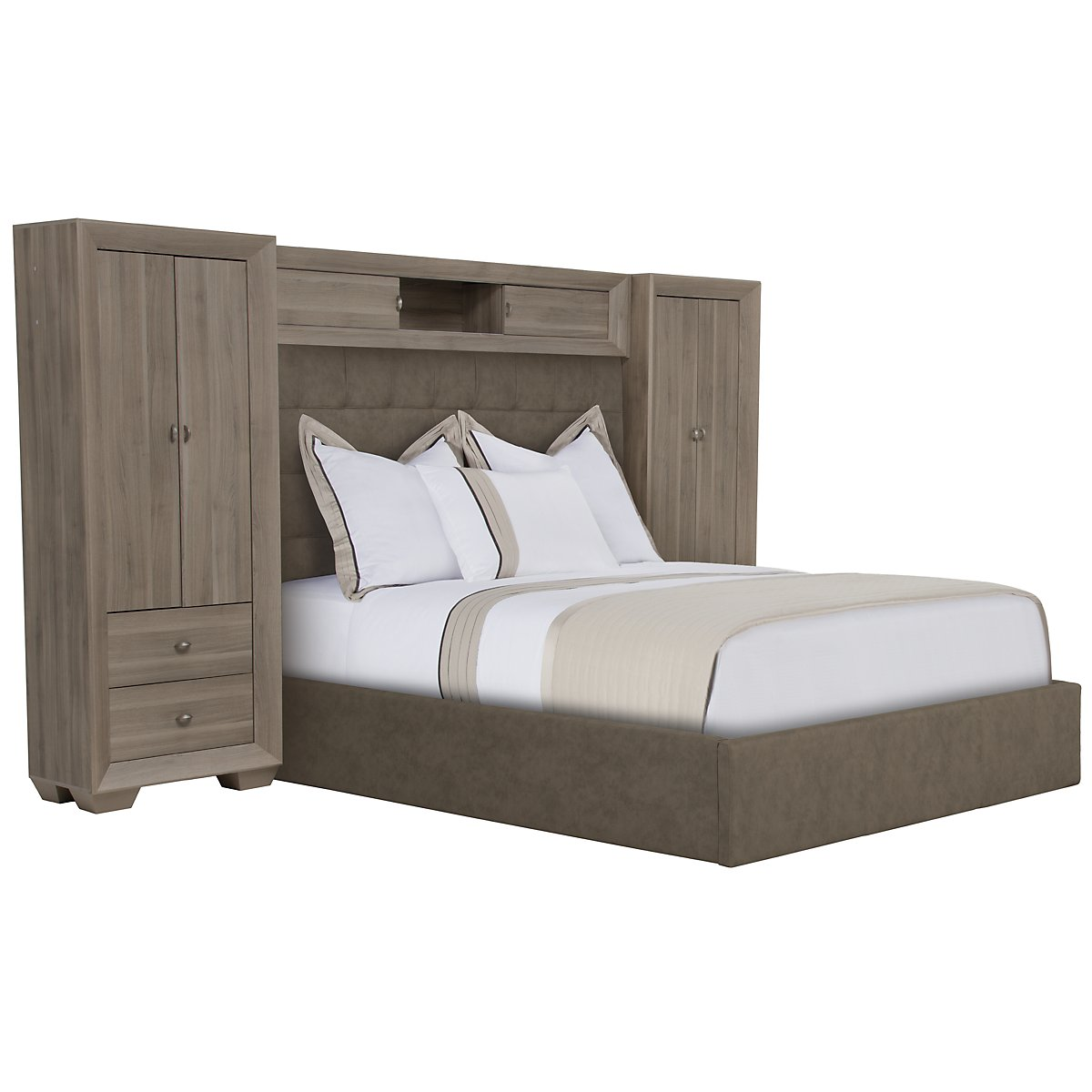 Adele2 Light Tone Upholstered Wall Bed