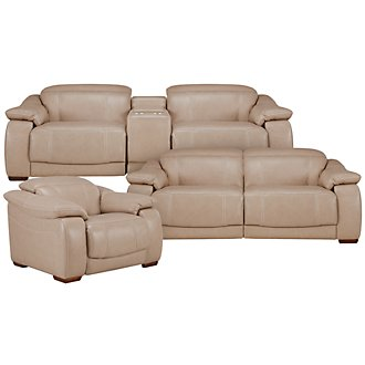 Orion Lt Taupe Leather & Bonded Leather Manually Reclining Living Room