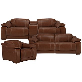 Orion Md Brown Leather & Bonded Leather Power Reclining Living Room