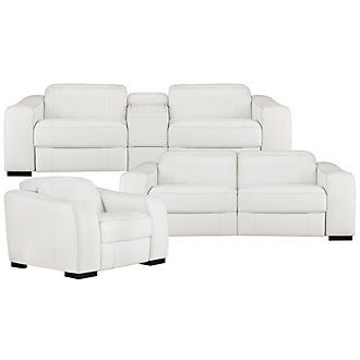 Vela White Leather & Bonded Leather Power Reclining Living Room