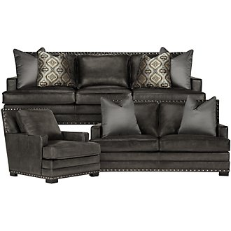 Cantor Dk Gray Leather Living Room