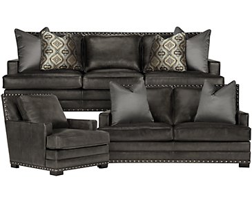 Cantor Dark Gray Leather Living Room
