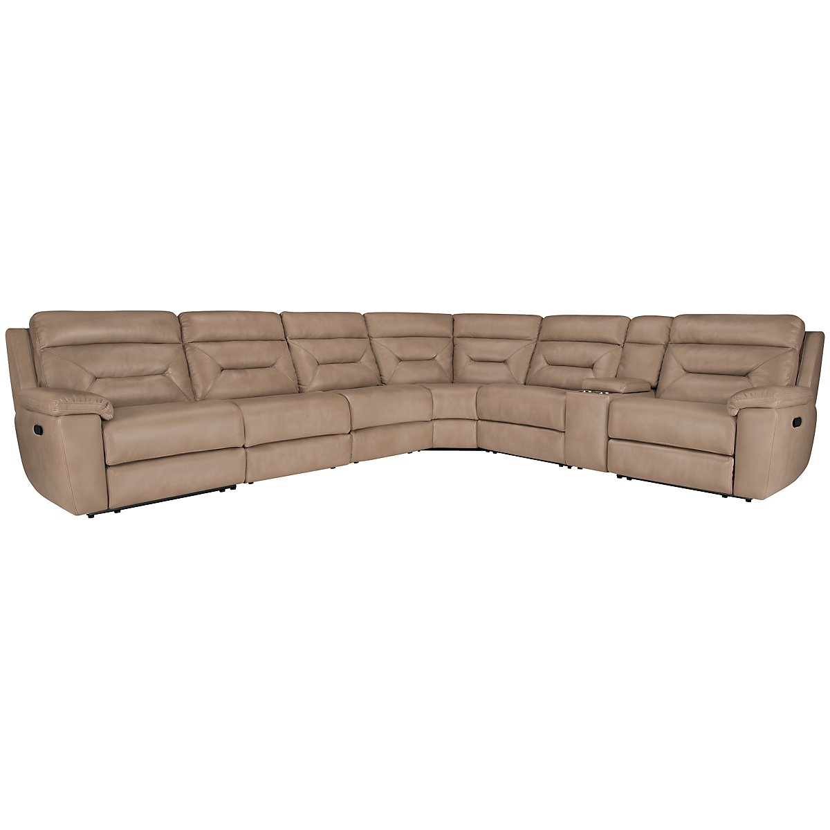 Phoenix Dk Beige Microfiber Large Two-Arm Manually Reclining Sectional