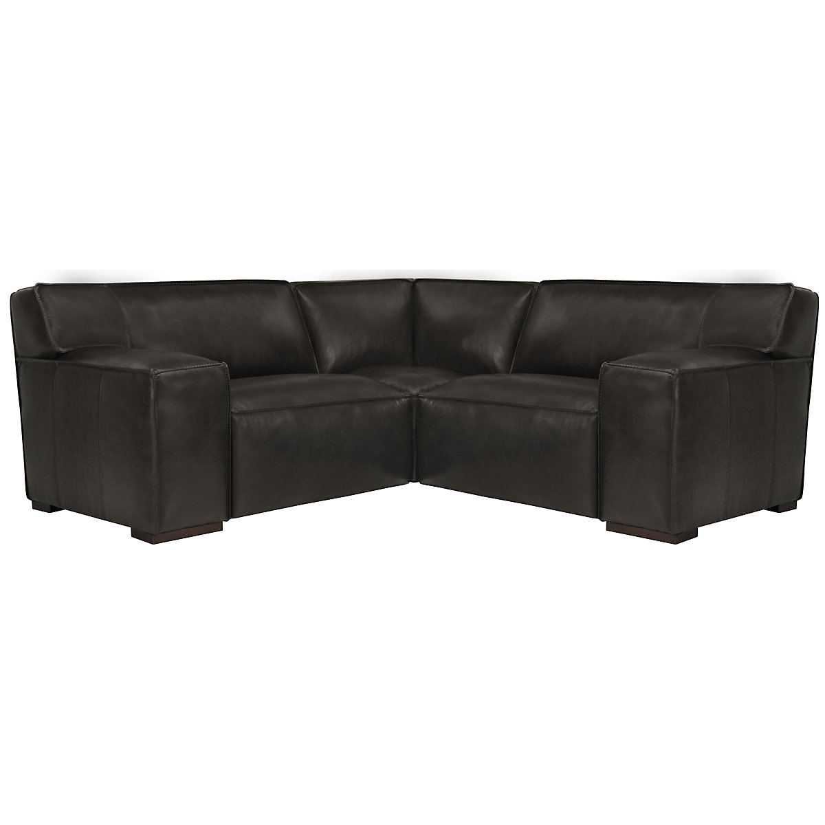 Asher Dk Gray Leather & Vinyl Two-Arm Sectional