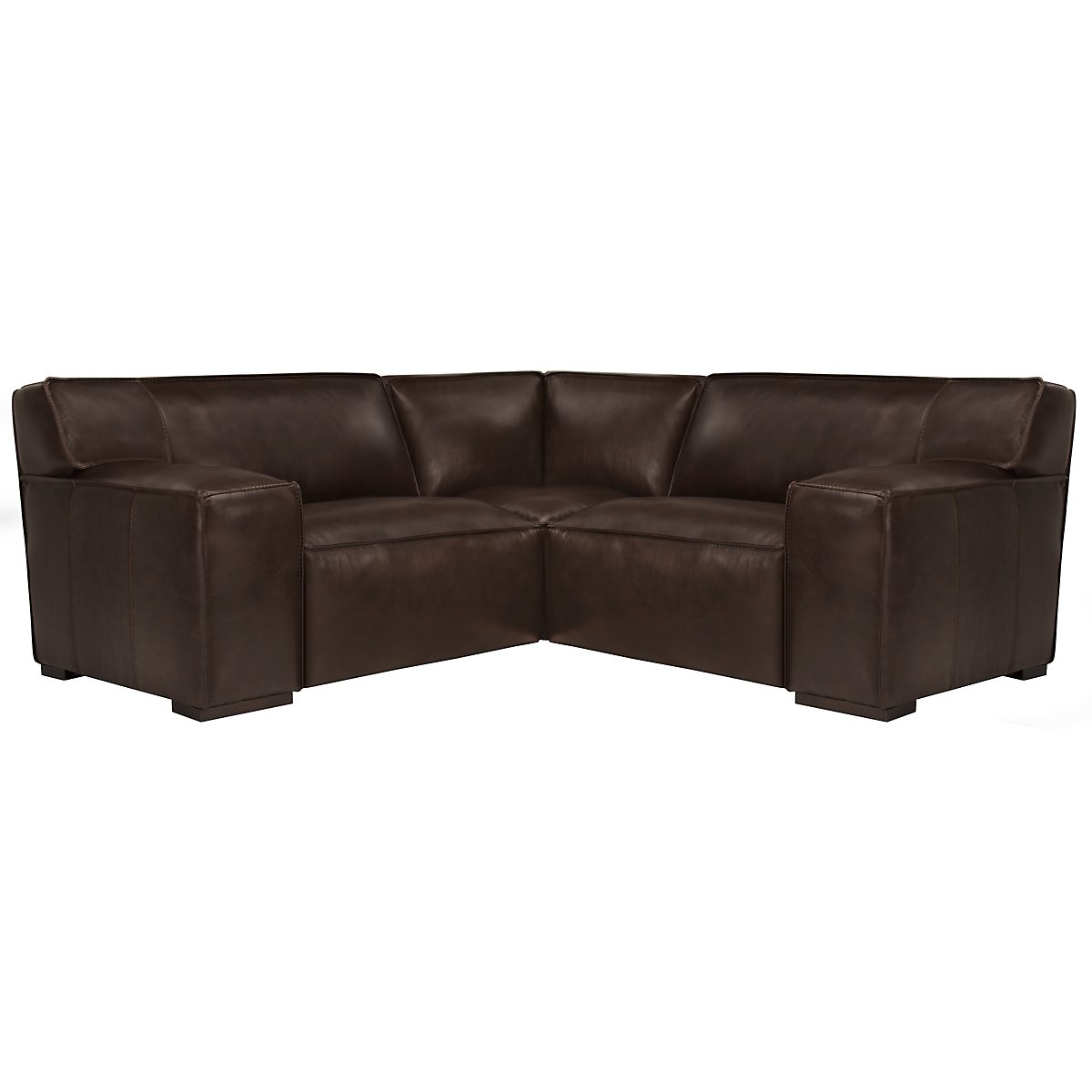 Asher Dk Brown Leather & Vinyl Two-Arm Sectional