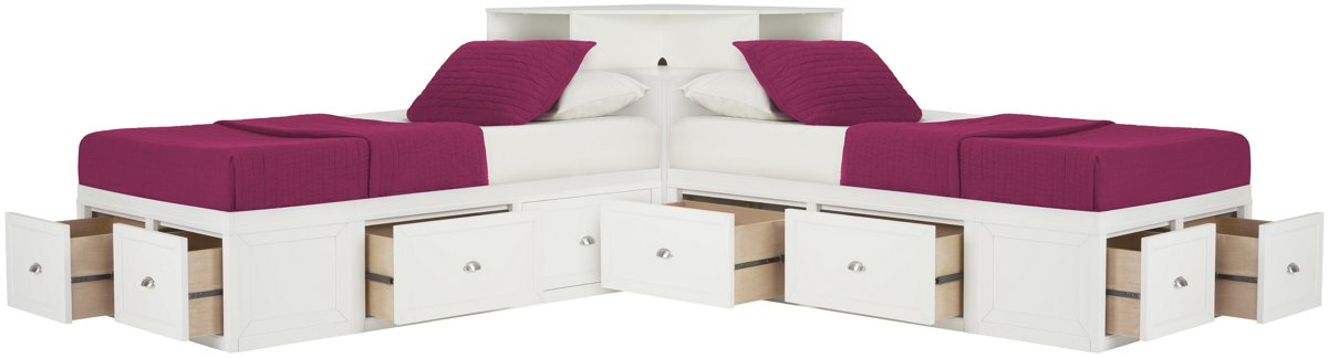 City Furniture: Spencer White Storage Corner Platform