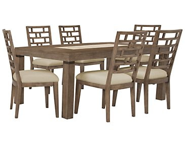 Mirabelle Light Tone Rectangular Table & 4 Wood Chairs