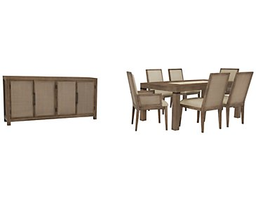 Mirabelle Light Tone Rectangular Dining Room