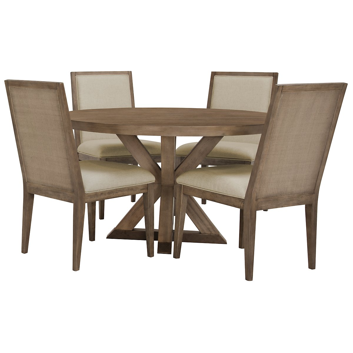 Mirabelle Light Tone Round Table & 4 Upholstered Chairs