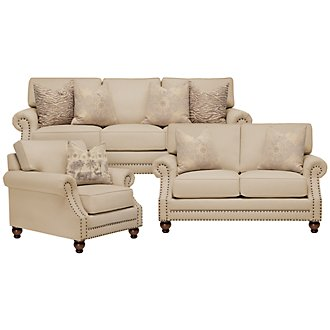 Nala Beige Fabric Living Room