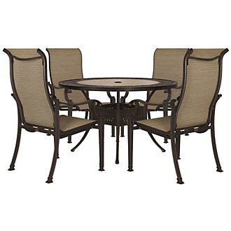 "Primera Dark Tone 54"" Round Table & 4 Sling Chairs"