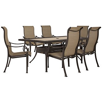 "Primera Dark Tone 84"" Rectangular Table & 4 Sling Chairs"