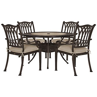 "Primera Dark Tone 54"" Round Table & 4 Cushioned Chairs"