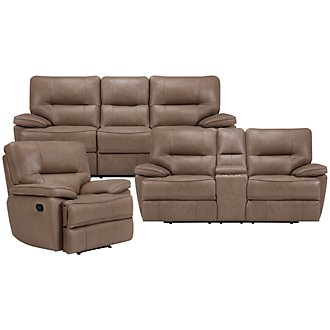 Clint Dk Beige Leather & Vinyl Manually Reclining Living Room