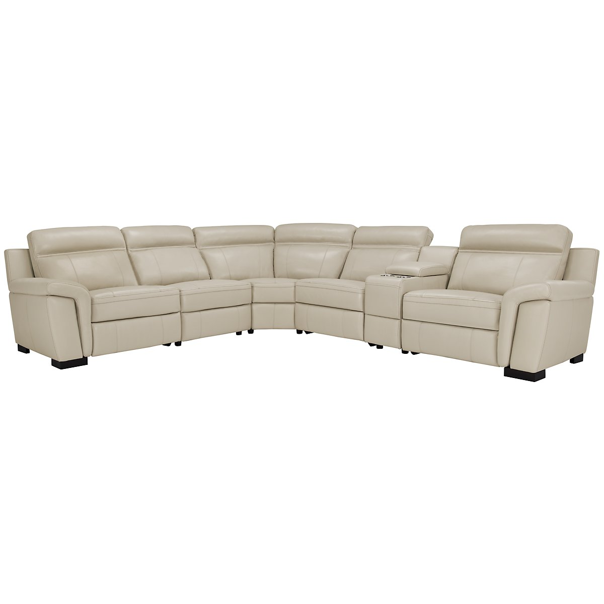 Albany Lt Gray Leather & Vinyl Small Two-Arm Manually Reclining Sectional