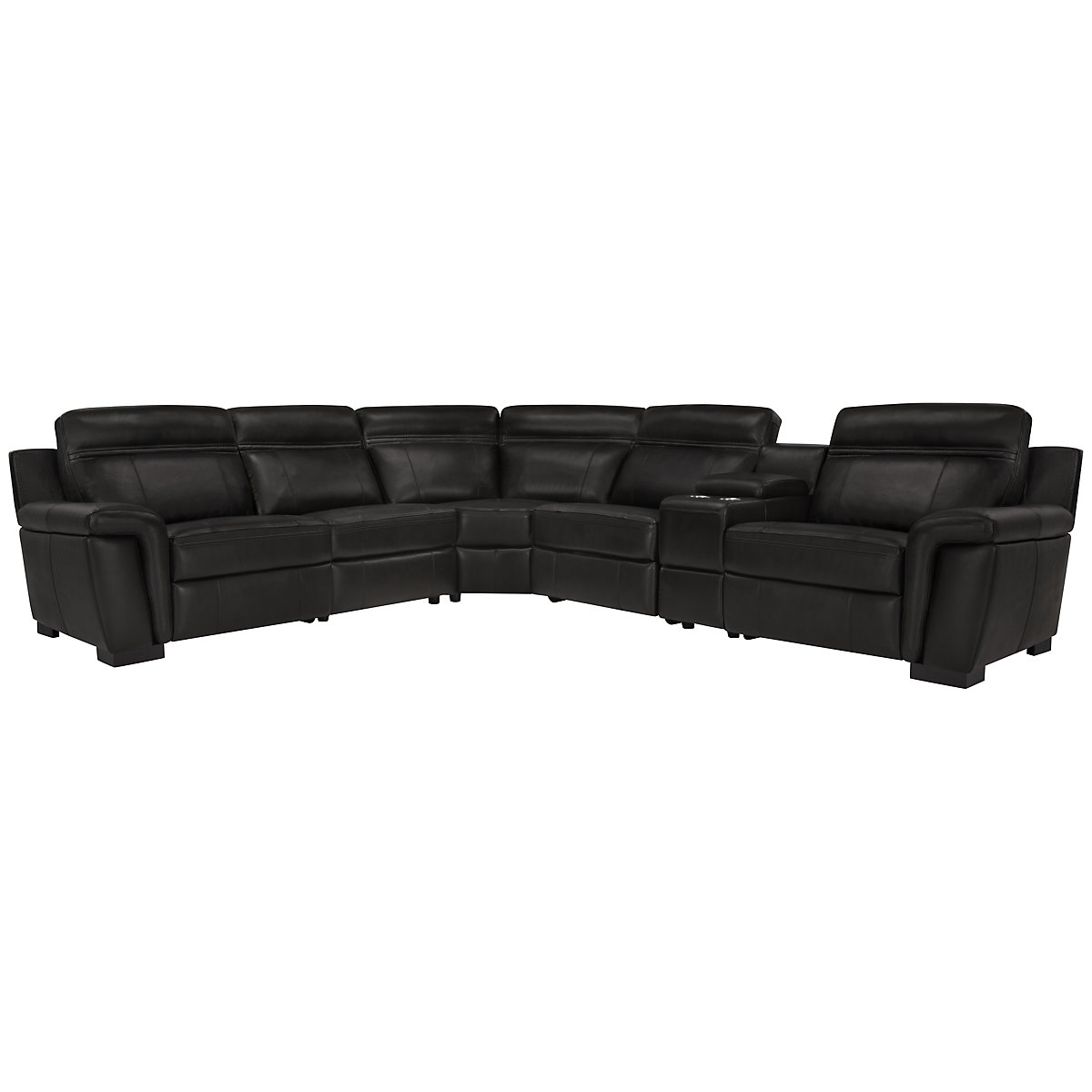 Albany Black Leather & Vinyl Small Two-Arm Power Reclining Sectional