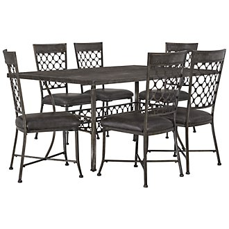 Brescello Dk Gray Rectangular Table & 4 Chairs