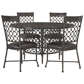 Brescello Dk Gray Round Table & 4 Chairs