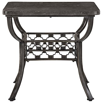 Brescello Dark Gray Marble Rectangular End Table