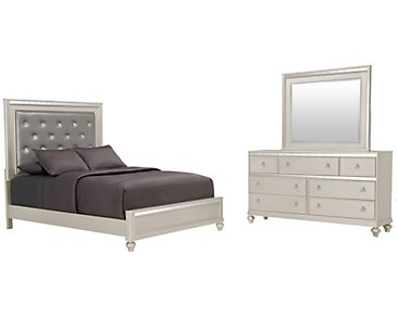 Belle Silver Upholstered Panel Bedroom