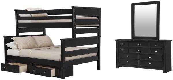 Laguna Black Wood Bunk Bed Storage Bedroom
