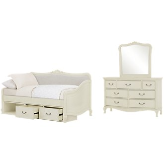 Kensington White Upholstered Daybed Storage Bedroom