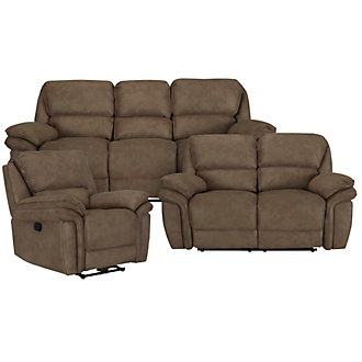 Kirsten Md Brown Microfiber Manually Reclining Living Room