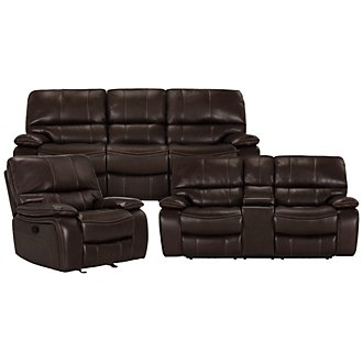 James Dk Brown Microfiber Manually Reclining Living Room