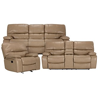James Dk Taupe Microfiber Manually Reclining Living Room