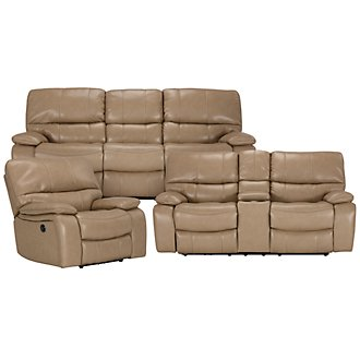James Dk Taupe Microfiber Power Reclining Living Room