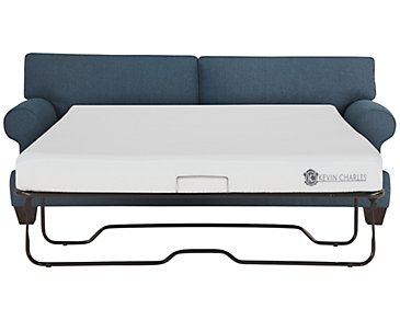 Quinn Blue Fabric Memory Foam Sleeper
