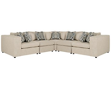 Como Khaki Fabric Large Two-Arm Sectional