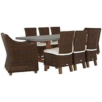 Canyon Concrete Dark Brown Rectangular Table & 4 Chairs