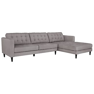 Shae Lt Gray Microfiber Right Chaise Sectional