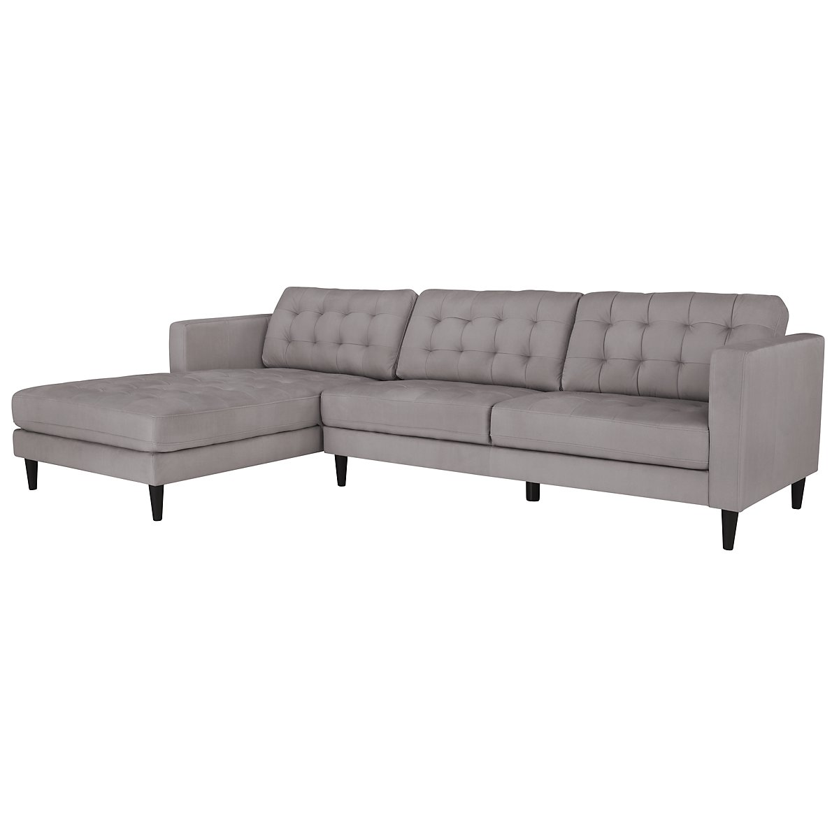 City furniture shae light gray microfiber left chaise for Gray microfiber sectional sofa with chaise