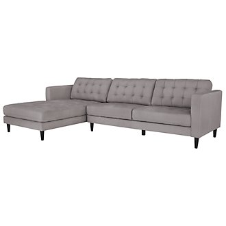 Shae Lt Gray Microfiber Left Chaise Sectional